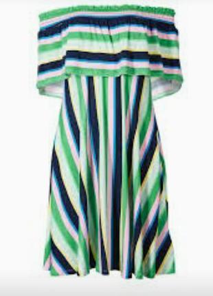 Красивое трикотажное платье в полоску на плечи 14/48-50 размера