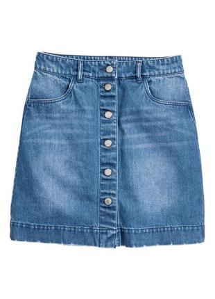 #розвантажуюсь джинсовая юбка трапеция на пуговицах спереди h&m