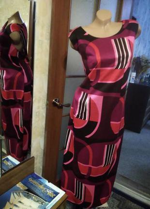 Яркое летнее платье из трикотажа, большого размера