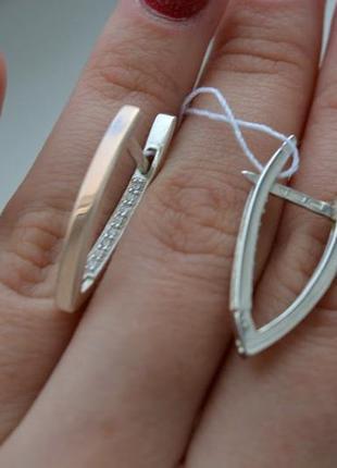 Серьги стрелки серебро с золотом