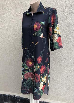 Платье удлиненной спинке,рубаха,туника,цветочный принт,полиэстер,