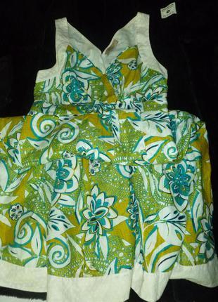 Натуральное яркое платье плаття сукня сарафан прошва 100% кото...