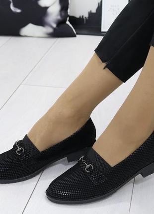Новые шикарные женские черные туфли на низком каблуке