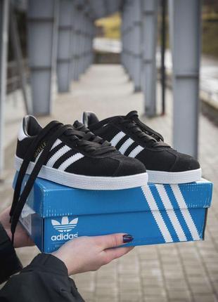 Adidas gazelle женские кроссовки адидас замша черный цвет весн...