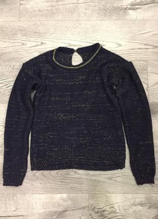 Вязаный синий свитер с пуговичками на спинке