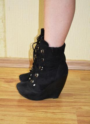 Зимние ботинки сапоги на платформе, танкетке