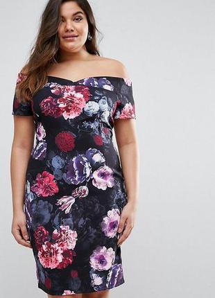 Шикарное платье дорогого бренда цветочный принт 24/58-60 размера
