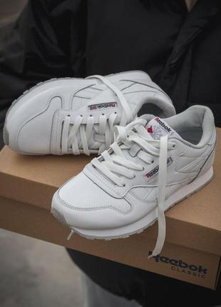 Reebok classic удобные женские кроссовки рибок кожа белый цвет...