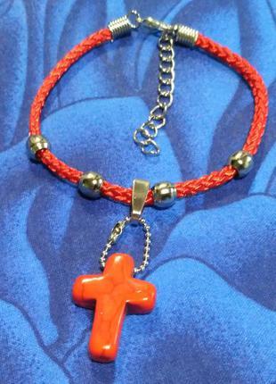 Бирюза-крестик(синт)+красная нить