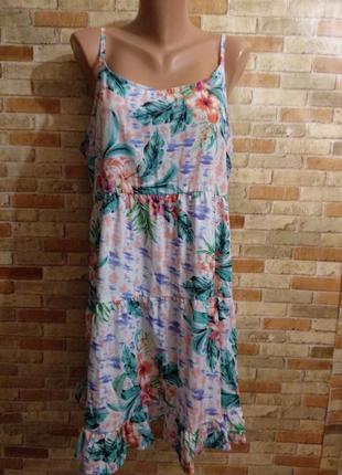 Воздушное и яркое платье сарафан в принт 16/50_52 размера