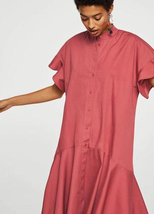 Стильное хлопковое платье миди mango интересного кроя