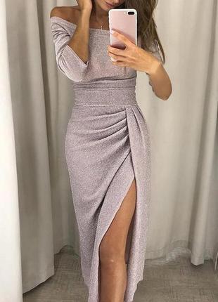 🌿роскошное, нарядное люрексовое миди платье с разрезом на запа...