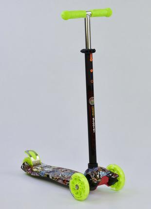 Детский самокат Best Scooter Maxi Макси 25470 Граффити, салатовый