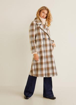 Новое шикарное двубортное длинное шерстяное пальто mango, шерс...