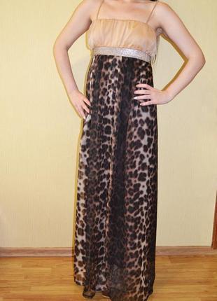 Роскошное платье в пол, длинное леопардовое  dolce gabbana
