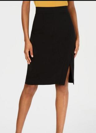 Трендовая чёрная юбка карандаш миди