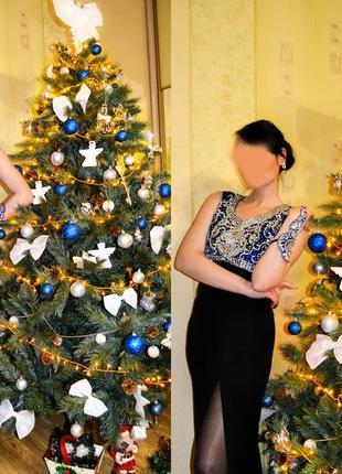 Роскошное вечернее, нарядное платье на новый год с вышивкой