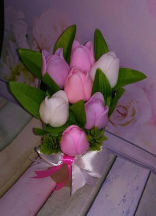Букетик тюльпанов,букет из мыла
