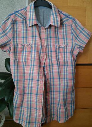 Блузка-рубашка с коротким рукавом
