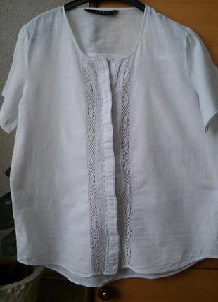 Тонкая белая блузка с кружевом размер m-l