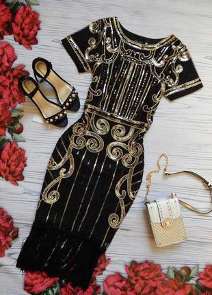 🌿роскошное, нарядное платье в пайетку с бахромой. размер l 🌿