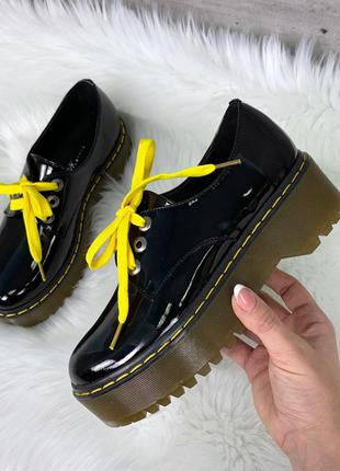 Чёрные лаковые туфли на платформе,чёрные лакированные туфли на...