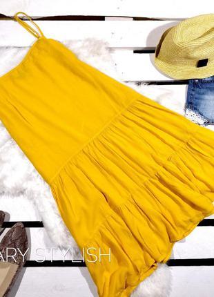 Желтое яркое крутое платье на лето, креп шифон