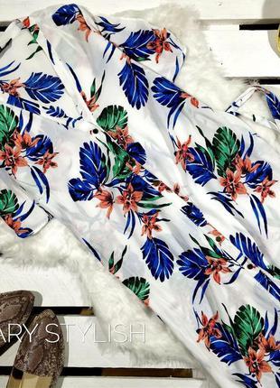 Белое платье в цветы креп-шифон