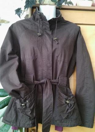 Шоколадно-коричневая куртка с флисовой подкладкой