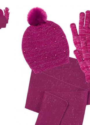 Набор для девочки: шапка, шарф, перчатки для девочки 6-12 лет ...
