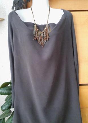 Платье-туника на высокую девушку, шелк+шерсть, цвет мокрый асф...