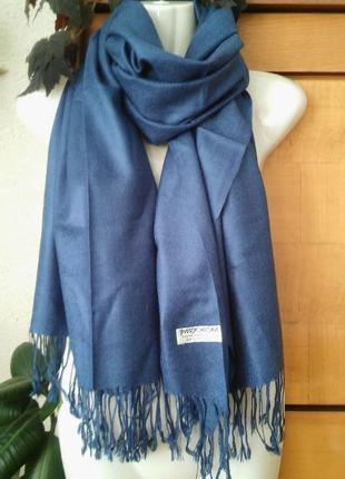 Новый шарф-палантин, кашемир+шелк,необычный джинсовый цвет. индия