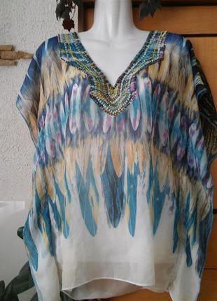 Шикарная блуза-накидка, расшита бусинами и бисером, apricot