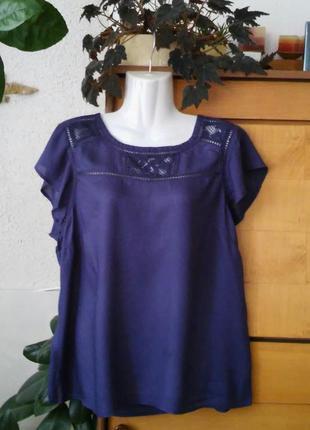 Блузка с кружевом, глубокий синий цвет