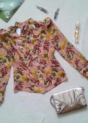 Винтажная шифоновая блуза с бантом в нежный цветочный принт, е...