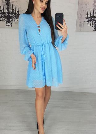 Платье шифон idiali цвет голубой мод.481