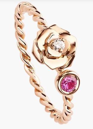 Золотое кольцо НОВОЕ!! 1 бриллиант 0.04ct + 1 сапфир 0.13ct