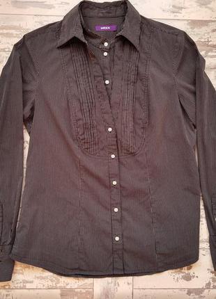 Mexx черная рубашка в белую полоску с воротником стойкой
