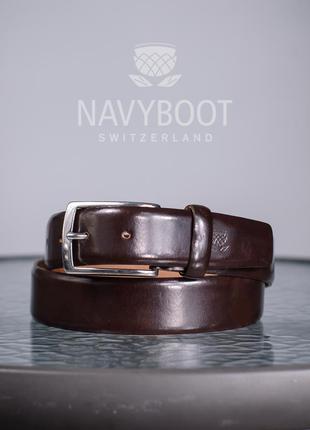 Ремень премиум класса navyboot, швейцария xs s мужской кожаный...