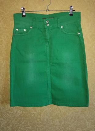 🎀яркая джинсовая юбка до колена/s-m/тотальная распродажа🤑🙀