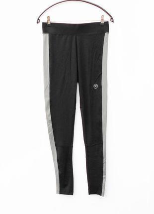 Черные спортивные длинные лосины штаны женская спортивная одеж...