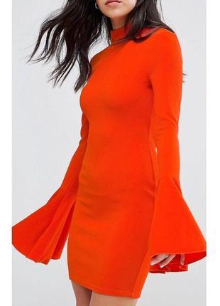 Платье с широкими рукавами оранжевое морковное по фигуре яркое...
