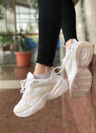 Nike m2k tekno white beige, женские демисезонные кроссовки найк