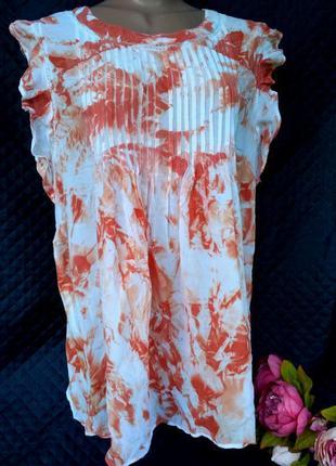Красивая вискозная блуза с акварельным принтом и спрошвой разм...