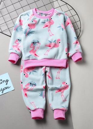 Костюмчик флисовый фламинго