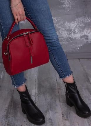 Красная кожаная сумка маленькая молодежная через плечо кросс-боди