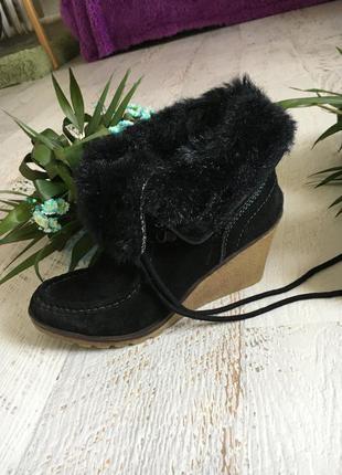 Замшевые ботинки на меху франция 40р.