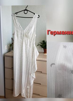 Длинная ночная рубашка макси платье на запах белая ночнушка