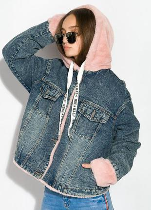 Джинсовая куртка пиджак на меху