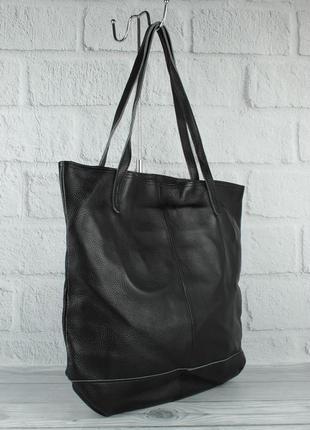 Кожаная сумка-шоппер с клатчем внутри vera pelle 2397-1 черная...